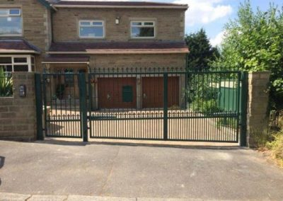 Installed gates on a sloped road